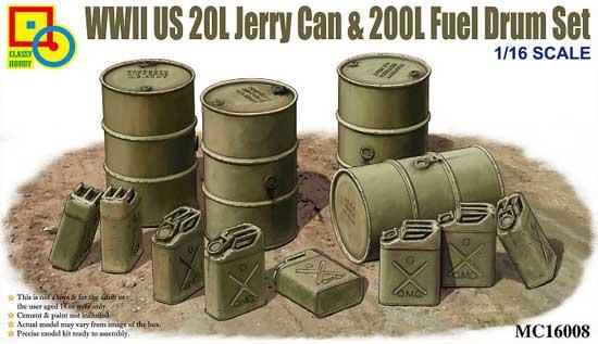 WW2 アメリカ軍 20L ジェリカン& 200L ドラム缶 セットプラモデル(クラッシーホビー1/16 プラキットNo.MC16008)商品画像