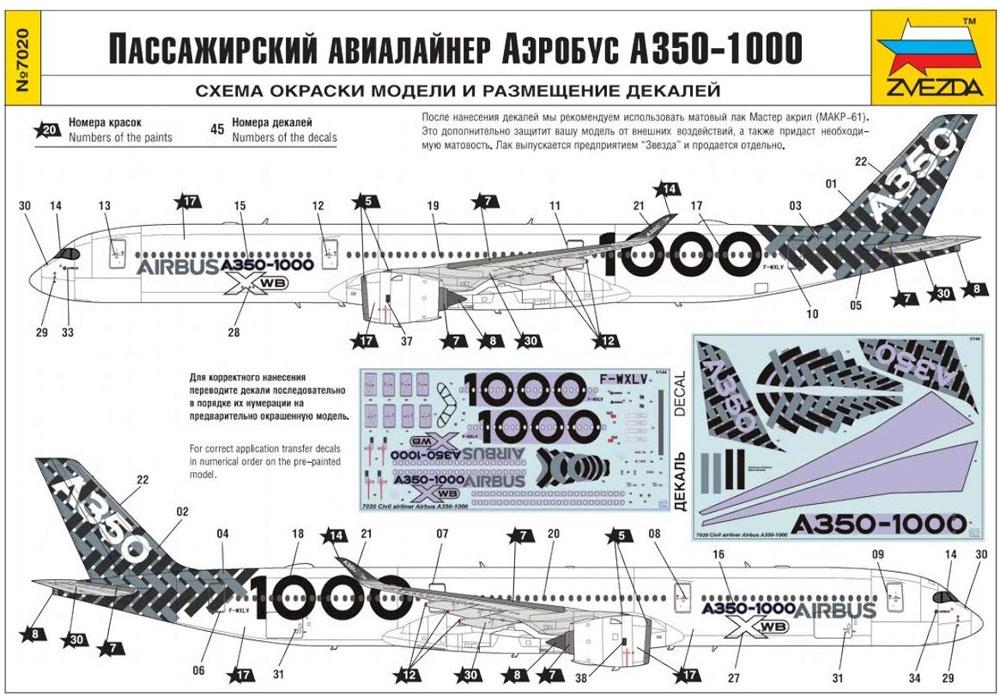 エアバス A350-1000プラモデル(ズベズダ1/144 エアモデルNo.7020)商品画像_2
