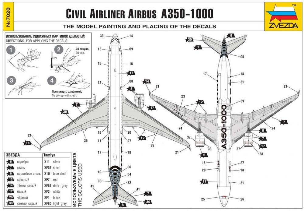 エアバス A350-1000プラモデル(ズベズダ1/144 エアモデルNo.7020)商品画像_3