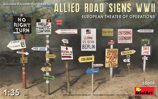 連合国軍 道路標識 WW2 ヨーロッパ作戦戦域プラモデル(ミニアート1/35 ビルディング&アクセサリー シリーズNo.35608)商品画像