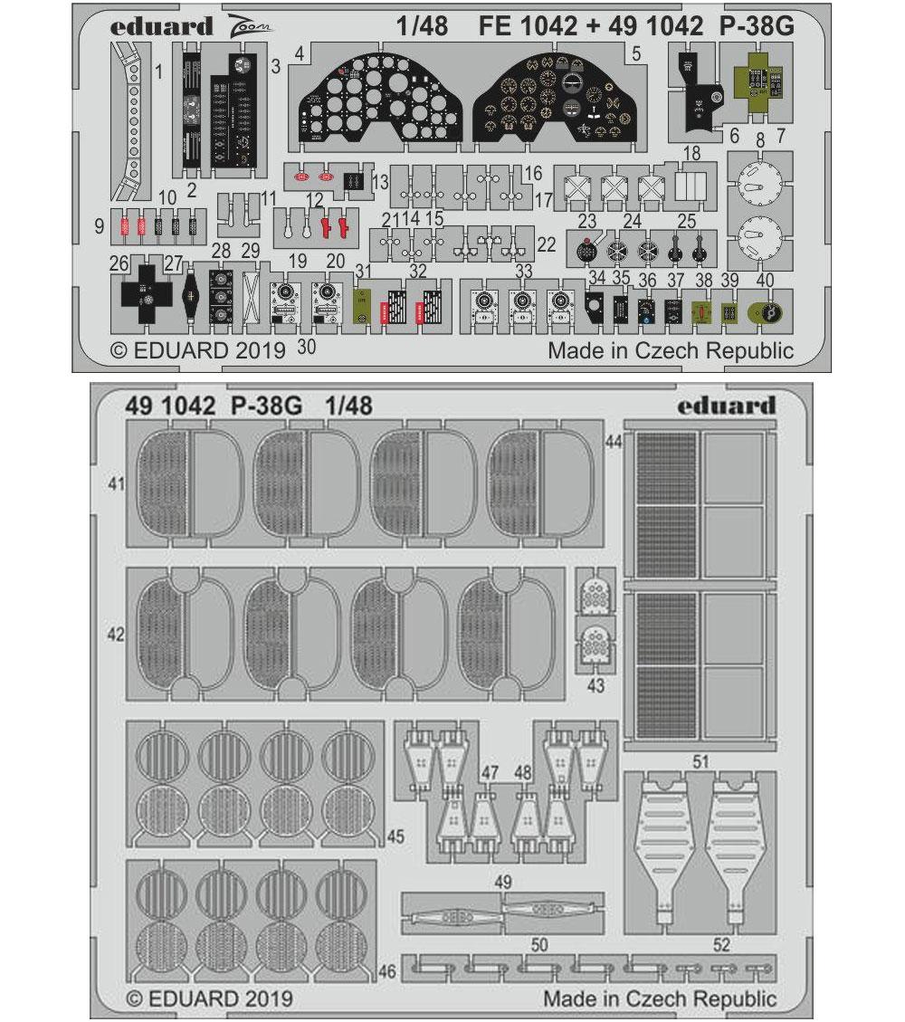P-38G エッチングパーツ (タミヤ用)エッチング(エデュアルド1/48 エアクラフト用 カラーエッチング (49-×)No.491042)商品画像_1