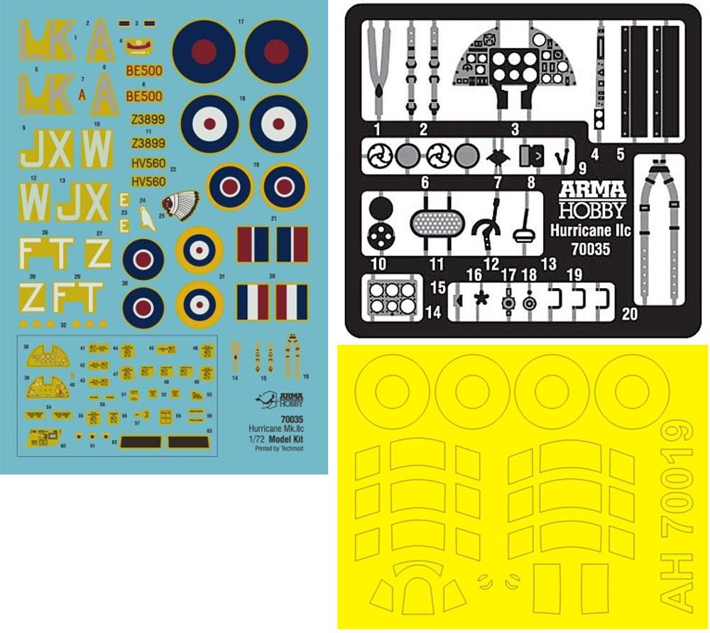 ホーカー ハリケーン Mk.2c エキスパートセットプラモデル(アルマホビー1/72 エアクラフト プラモデルNo.70035)商品画像_2
