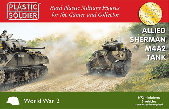 連合軍 M4A2 シャーマン 中戦車 75mm/76mm/105mm砲タイプ (3キット入)プラモデル(プラスチックソルジャーWorld War 2No.WW2V20034)商品画像