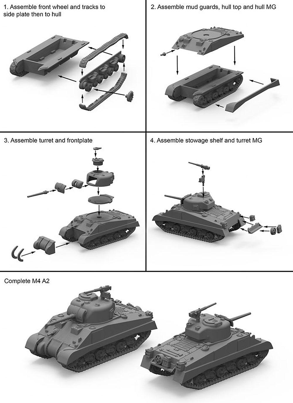 連合軍 M4A2 シャーマン 中戦車 75mm/76mm/105mm砲タイプ (3キット入)プラモデル(プラスチックソルジャーWorld War 2No.WW2V20034)商品画像_2