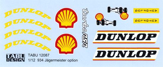 ポルシェ 934 イェーガーマイスター オプションデカールデカール(タブデザイン1/12 デカールNo.TABU-12087)商品画像