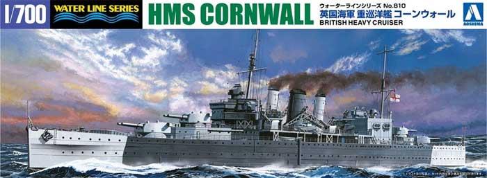 英国海軍 重巡洋艦 コーンウォールプラモデル(アオシマ1/700 ウォーターラインシリーズNo.810)商品画像