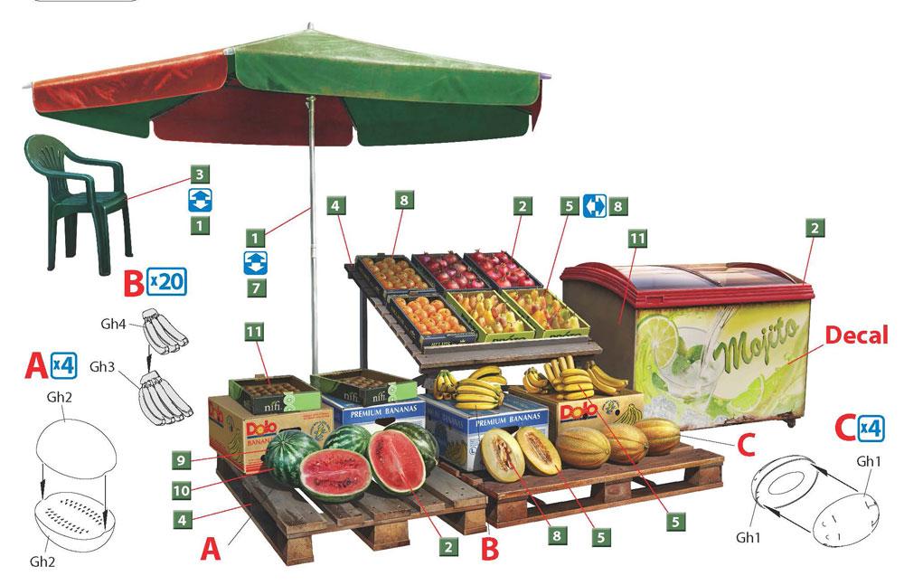 路上の果物屋プラモデル(ミニアート1/35 ビルディング&アクセサリー シリーズNo.35612)商品画像_1