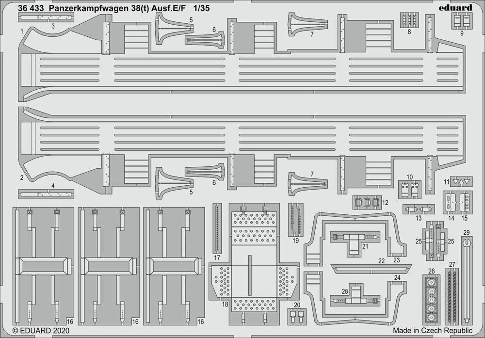 38(t) E/F型 エッチングパーツ (タミヤ用)エッチング(エデュアルド1/35 AFV用 エッチング (36-×・35-×)No.36433)商品画像_1