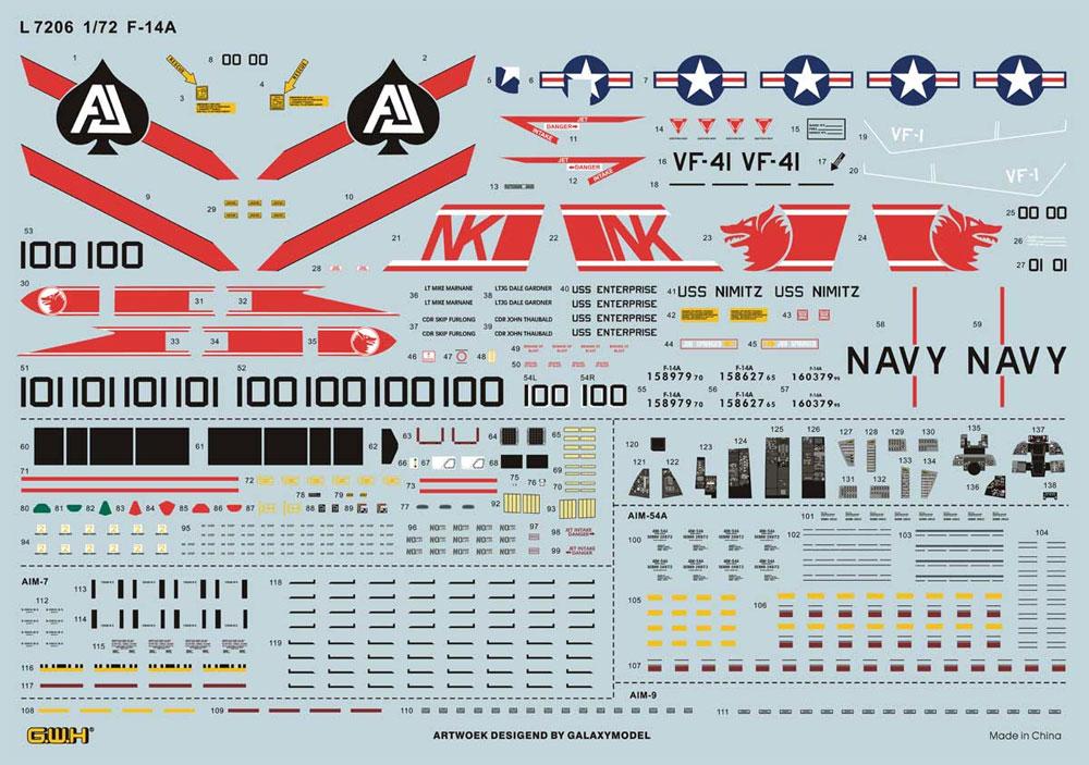 アメリカ海軍 F-14A トムキャット 艦上戦闘機プラモデル(グレートウォールホビー1/72 エアクラフト プラモデルNo.L7206)商品画像_1
