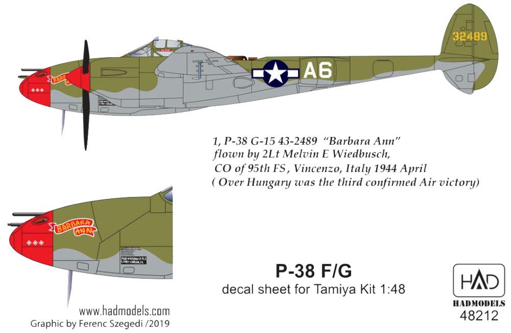 P-38F/G デカール (タミヤ用)デカール(HAD MODELS1/48 デカールNo.48212)商品画像_2