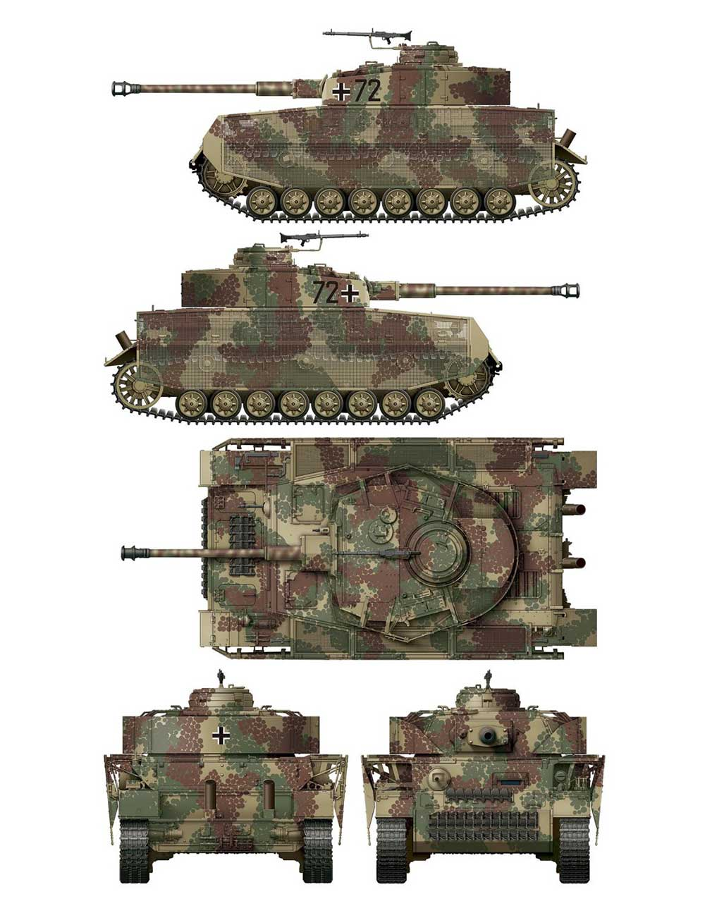 4号戦車J型 後期型 迷彩マスキングシート A (ボーダーモデル BT-008用)デカール(ボーダーモデル1/35 ミリタリーNo.BD-0034)商品画像_2