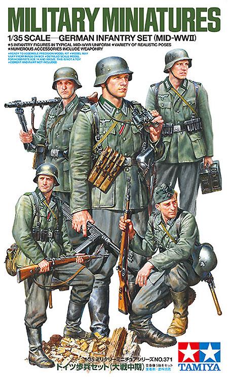 ドイツ歩兵セット (大戦中期)プラモデル(タミヤ1/35 ミリタリーミニチュアシリーズNo.371)商品画像