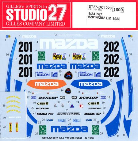 マツダ 767 #201/#202 ル・マン 1988 デカールデカール(スタジオ27ツーリングカー/GTカー オリジナルデカールNo.DC1226)商品画像