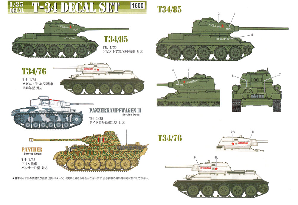 T-34 デカールセットデカール(フォックスモデル (FOX MODELS)AFVデカールNo.D035027)商品画像_1