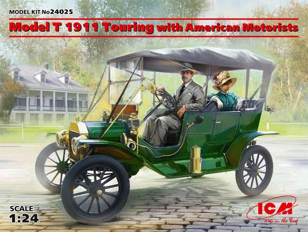 T型フォード 1911 ツーリング w/アメリカン モーターリストプラモデル(ICM1/24 AFVモデルNo.24025)商品画像