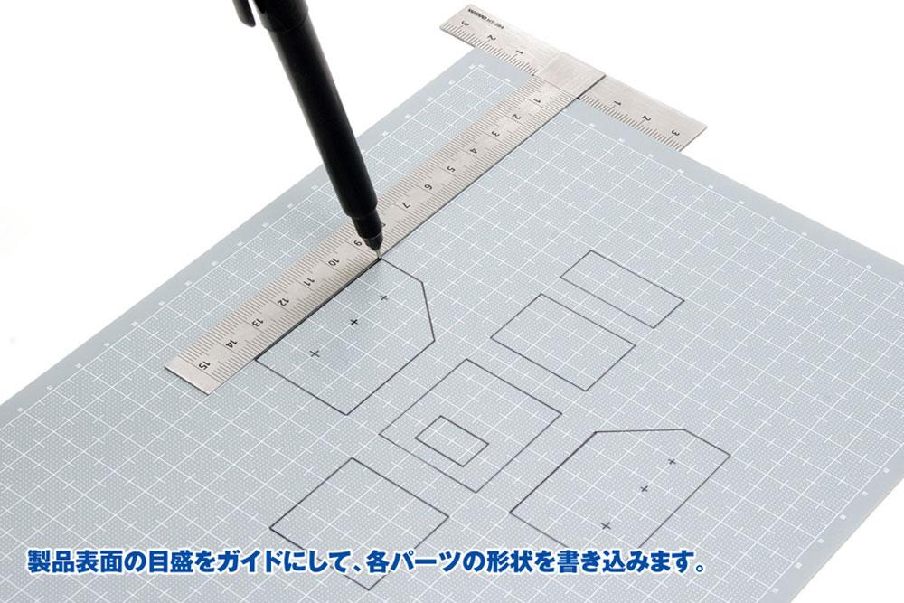 プラ=プレート (グレー) 目盛付き (目盛印刷色:ホワイト) (厚さ:0.8mm) (ウェーブ マテリアル OM-304) の商品画像