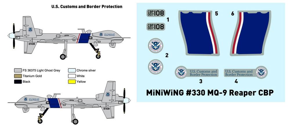 ジェネラル アトミックス MQ-9 リーパー アメリカ合衆国税関・国境警備局プラモデル(ミニウイング1/144 インジェクションキットNo.mini330)商品画像_1
