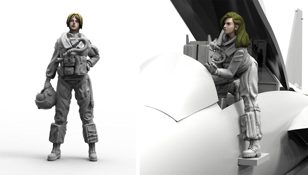 1/32 現用 アメリカ海軍 女性パイロットセット 1 (2体入)レジン(トリファクトリーMILITARY FIGURE SERIESNo.MF-004A)商品画像_2