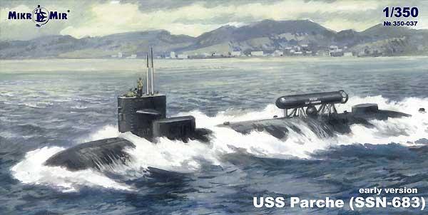 USS パーチー SSN-683 初期型プラモデル(ミクロミル1/350 艦船モデルNo.350-037)商品画像