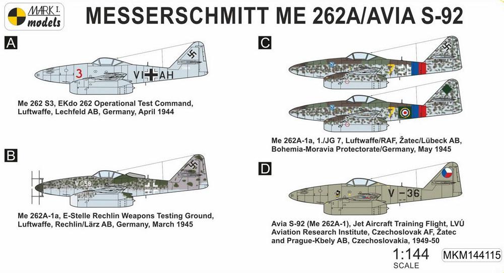 メッサーシュミット Me262A/S-92 迎撃機 2in1プラモデル(MARK 1MARK 1 modelsNo.MKM144115)商品画像_1