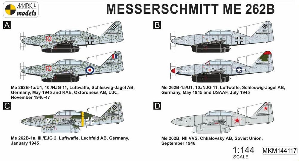 メッサーシュミット Me262B 夜間戦闘機 2in1プラモデル(MARK 1MARK 1 modelsNo.MKM144117)商品画像_1