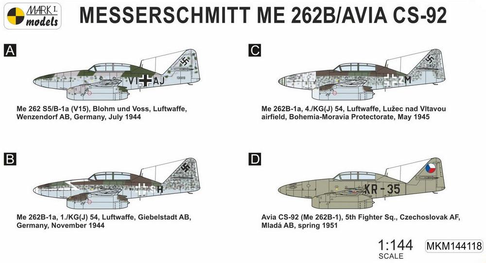 メッサーシュミット Me262B/CS-92 練習機 2in1プラモデル(MARK 1MARK 1 modelsNo.MKM144118)商品画像_1