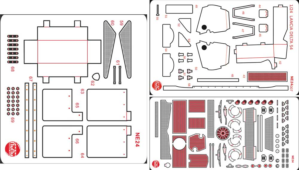 ランチア デルタ S4 '86 サンレモラリー用 ディテールアップパーツエッチング(NuNuディテールアップパーツシリーズNo.NE24007)商品画像_1