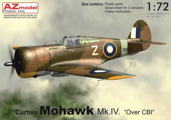カーチス モホーク Mk.4 Over CBIプラモデル(AZ model1/72 エアクラフト プラモデルNo.AZ7643)商品画像