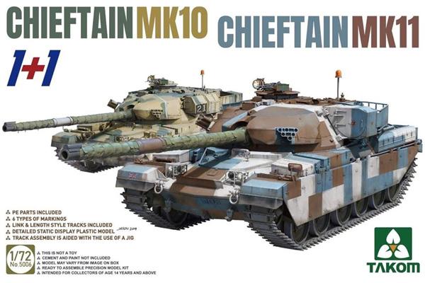 チーフテン Mk.11/Mk.10 (1+1)プラモデル(タコム1/72 ミリタリーNo.5006)商品画像