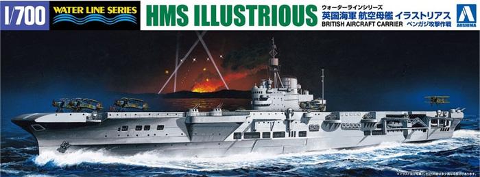 英国海軍 航空母艦 イラストリアス ベンガジ攻撃作戦プラモデル(アオシマ1/700 ウォーターラインシリーズNo.059418)商品画像
