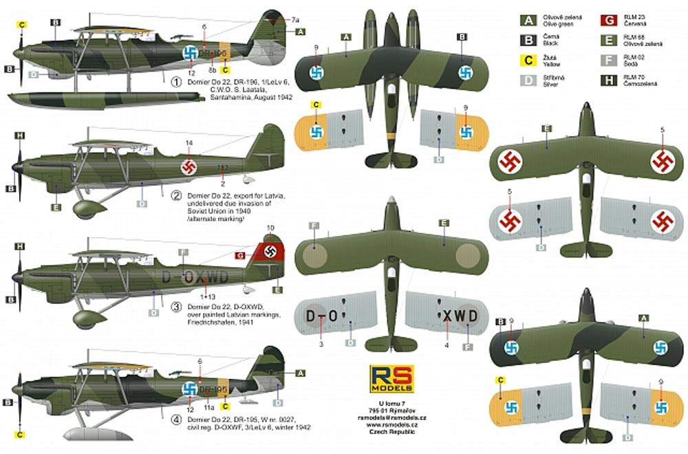 ドルニエ Do22 WW2 ドイツ、フィンランド、ラトビアプラモデル(RSモデル1/72 エアクラフト プラモデルNo.92244)商品画像_2