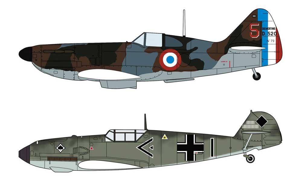 ドボアチーヌ D.520 & メッサーシュミット Bf109E バトル オブ フランスプラモデル(ハセガワ1/72 飛行機 限定生産No.02332)商品画像_2