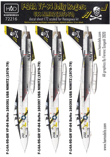 F-14A トムキャット VF-84 ジョリーロジャース USS ニミッツ 1978-79 デカールデカール(HAD MODELS1/72 デカールNo.HAD72216)商品画像