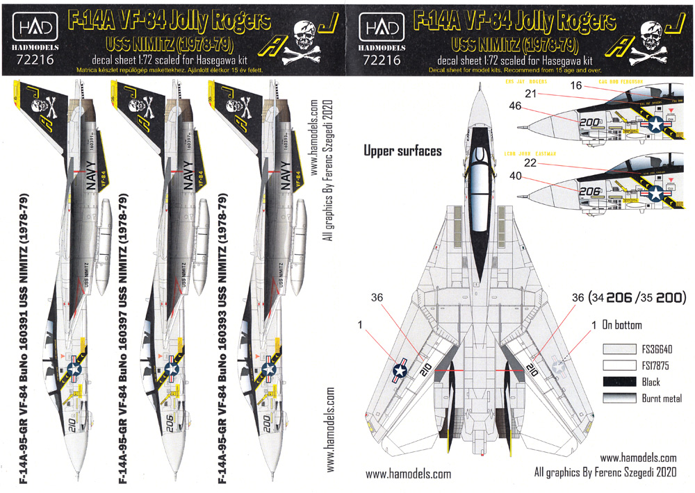 F-14A トムキャット VF-84 ジョリーロジャース USS ニミッツ 1978-79 デカールデカール(HAD MODELS1/72 デカールNo.HAD72216)商品画像_2