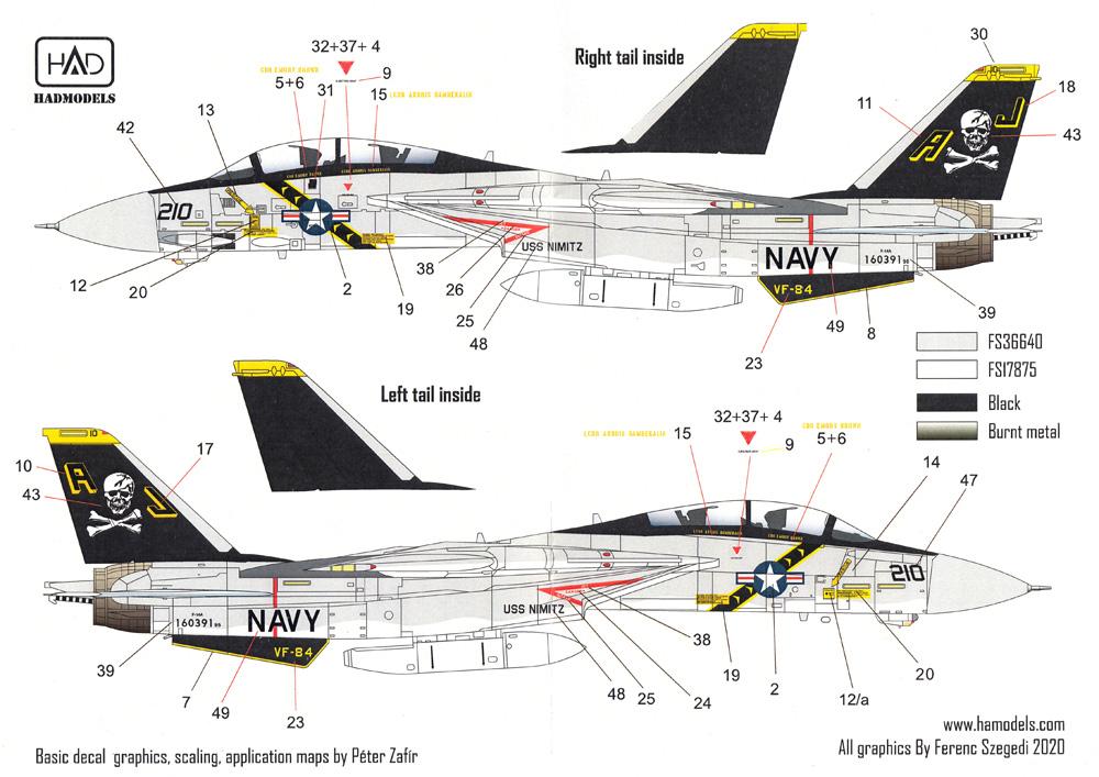 F-14A トムキャット VF-84 ジョリーロジャース USS ニミッツ 1978-79 デカールデカール(HAD MODELS1/72 デカールNo.HAD72216)商品画像_3