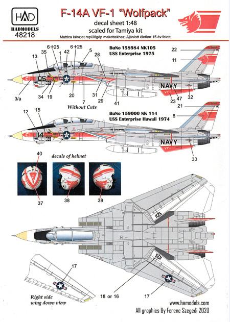 F-14A トムキャット VF-1 ウルフパック USS エンタープライズ デカールデカール(HAD MODELS1/48 デカールNo.HAD48218)商品画像