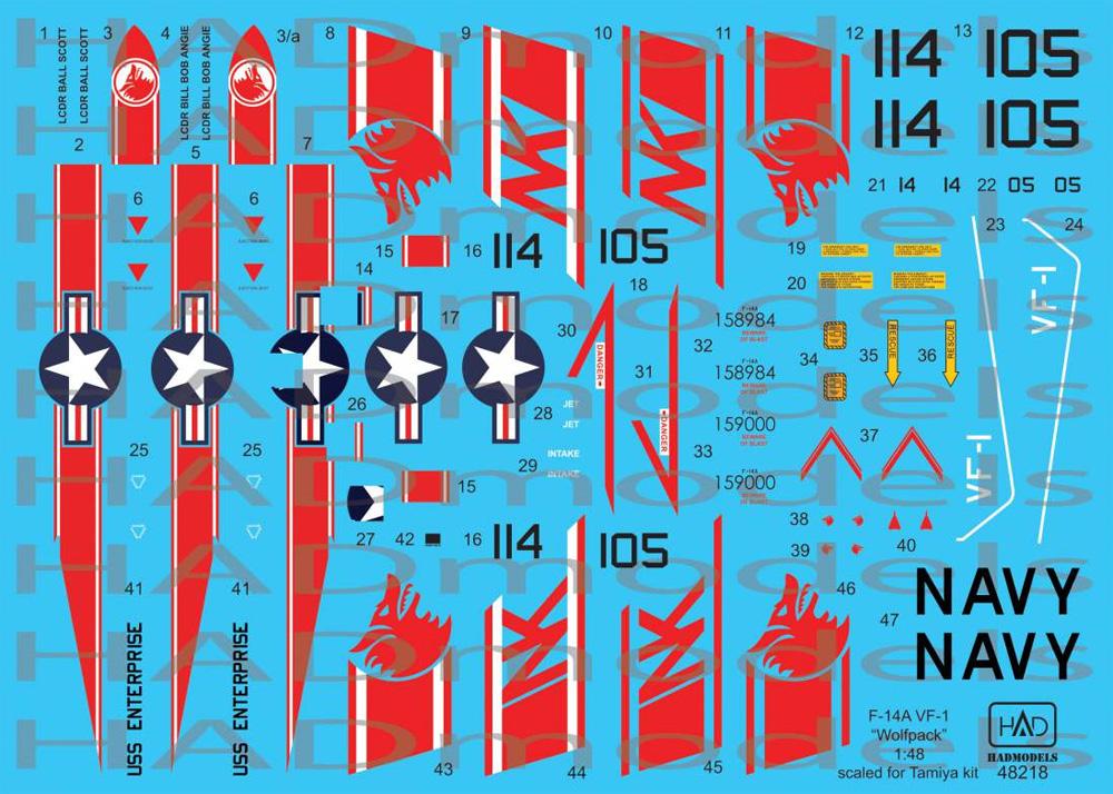 F-14A トムキャット VF-1 ウルフパック USS エンタープライズ デカールデカール(HAD MODELS1/48 デカールNo.HAD48218)商品画像_1