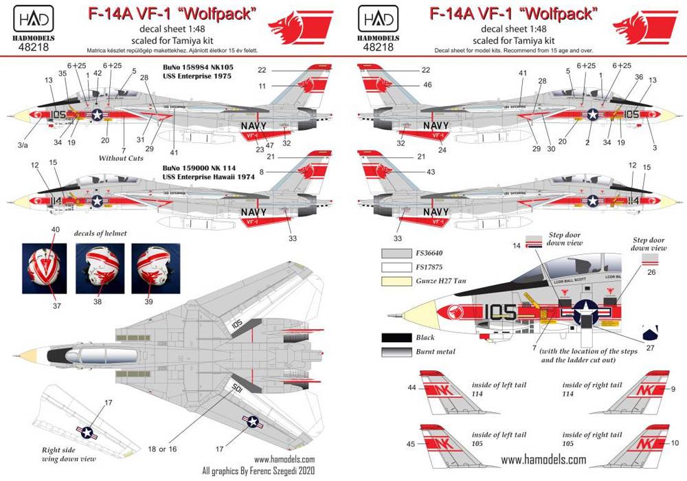 F-14A トムキャット VF-1 ウルフパック USS エンタープライズ デカールデカール(HAD MODELS1/48 デカールNo.HAD48218)商品画像_2