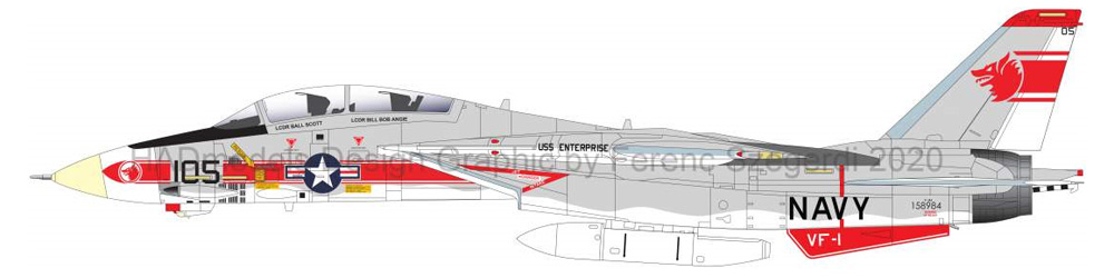 F-14A トムキャット VF-1 ウルフパック USS エンタープライズ デカールデカール(HAD MODELS1/48 デカールNo.HAD48218)商品画像_3