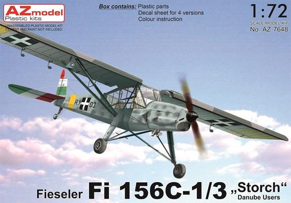 フィゼラー Fi156C-1/3 シュトルヒ ドナウ川流域国プラモデル(AZ model1/72 エアクラフト プラモデルNo.AZ7648)商品画像