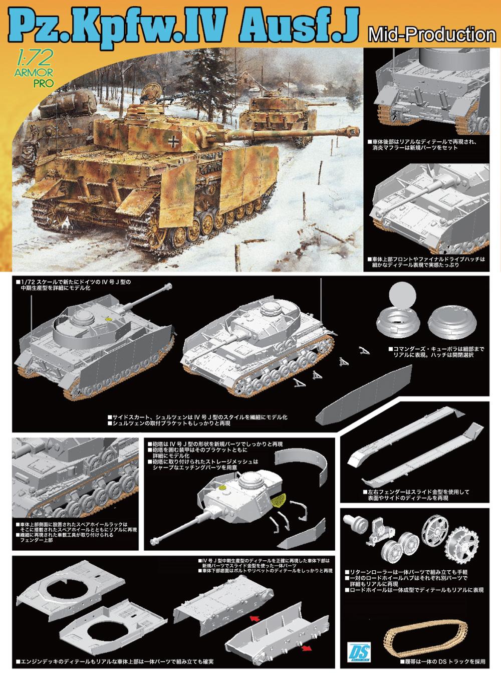 Pz.Kpfw.4 4号戦車J型 中期生産型プラモデル(ドラゴン1/72 ARMOR PRO (アーマープロ)No.7498)商品画像_2