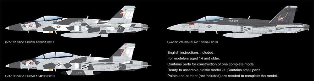 F/A-18A/C/D ホーネット VFC-12 & VFA-204 アグレッサープラモデル(キネティック1/48 エアクラフト プラモデルNo.K48088)商品画像_2