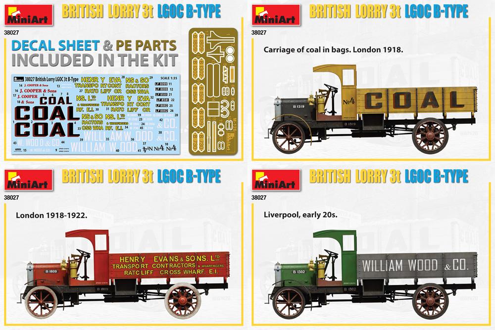 イギリス 貨物自動車 3トン LGOC Bタイププラモデル(ミニアート1/35 ミニチュアシリーズNo.38027)商品画像_1