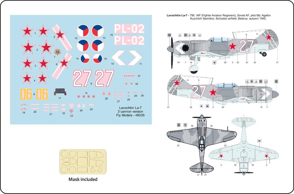 ラヴォーチキン La-7 武装強化型 ソビエト戦闘機プラモデル(フライ1/48 エアクラフト プラモデルNo.48035)商品画像_3