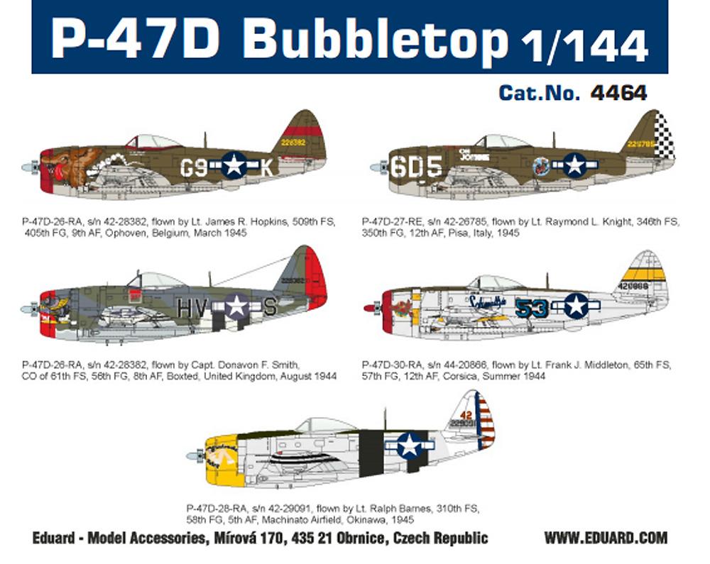 P-47D サンダーボルト バブルトッププラモデル(エデュアルド1/144 SUPER44No.4464)商品画像_3