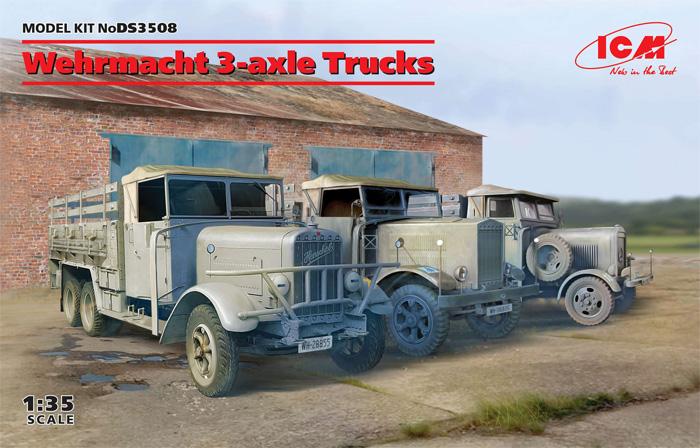 ドイツ国防軍 3軸 トラックセット (ヘンシェル33D1、クルップL3H163、LG3000)プラモデル(ICMダイオラマセットNo.DS3508)商品画像