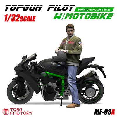 1/32 トップガン パイロット w/モーターバイクプラモデル(トリファクトリーMILITARY FIGURE SERIESNo.MF-008A)商品画像