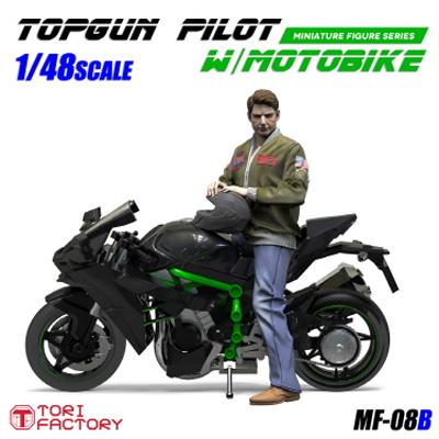 1/48 トップガン パイロット w/モーターバイクレジン(トリファクトリーMILITARY FIGURE SERIESNo.MF-008B)商品画像