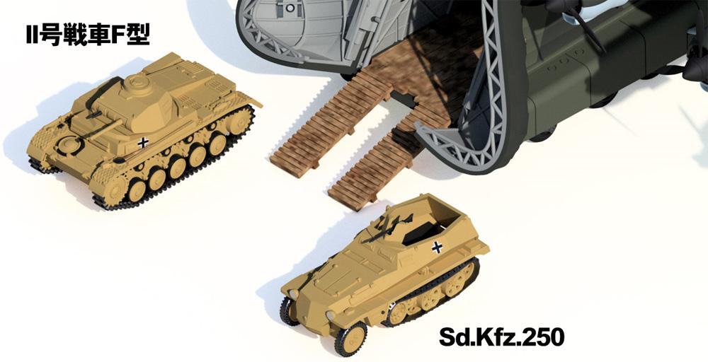 ドイツ空軍 輸送機 Me323E-2 ギガント 2号戦車F型、Sd.Kfz.250 ハーフトラック 各1両付きプラモデル(ピットロードSN 航空機 プラモデルNo.SN023SP)商品画像_4