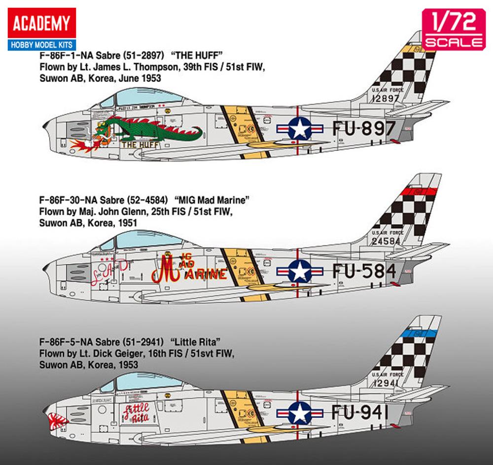 F-86F セイバー 朝鮮戦争プラモデル(アカデミー1/72 AircraftsNo.12456)商品画像_2